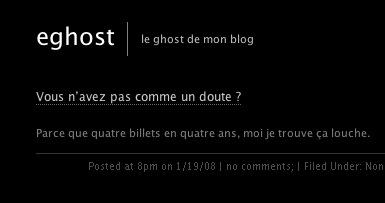 eghost, le ghost de mon blog