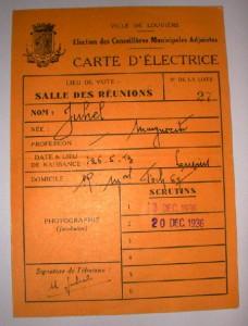 Carte d'électrice de 1936